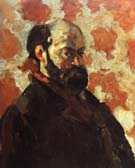 Paul Cezanne Self-Portrait with Red Background