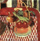 Pierre Bonnard Basket and Plate of Fruit on a Red-checkered Tablecloth 1938