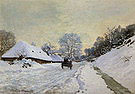 Claude Monet The Cart Snow Covered Road at Honfleur 1867