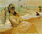 Claude Monet Camille Monet on the Beach at Trouville 1870
