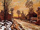 Claude Monet Road to Louveciennes Melting Snow Sunset 1870