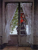 Claude Monet Mme Monet in a Red Cape Argenteuil 1873