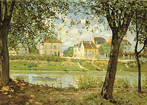 Alfred Sisley Village on the Bank of the Seine (Villeneuve la Garenne) 1872