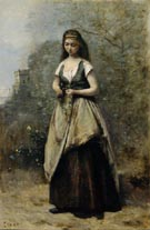 Jean Baptiste Corot Young Woman Weaving a Wreath of Flowers